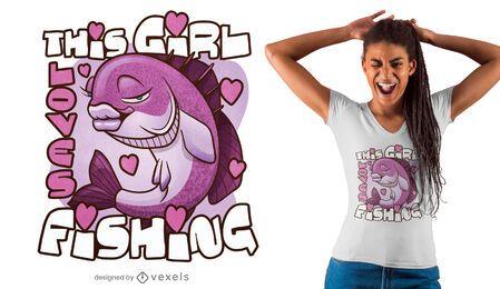 Diseño de camiseta de amor de pesca.