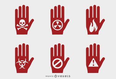 Hand Gefahrensymbole