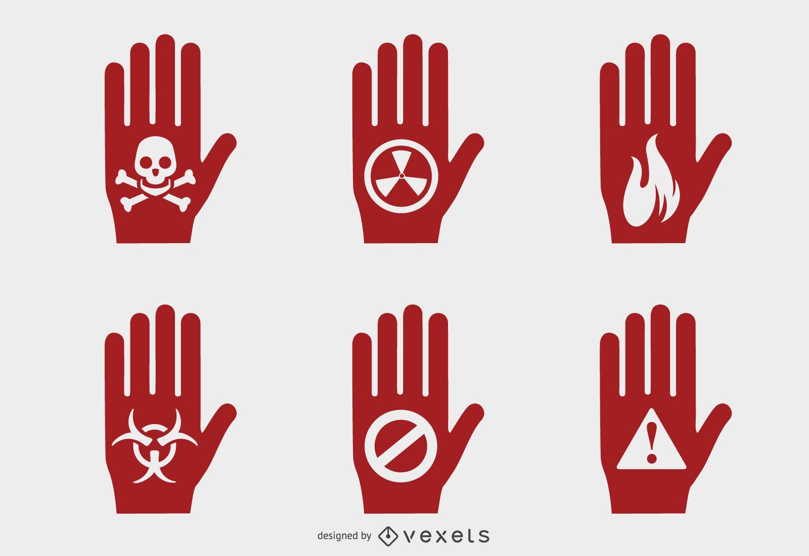 Hand hazard symbols