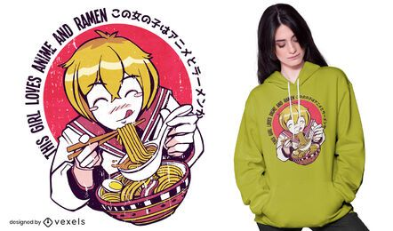 Ramen anime girl t-shirt design