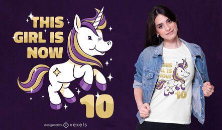 Diseño de camiseta de cumpleaños de unicornio.