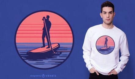 Diseño de camiseta de surf de remo.