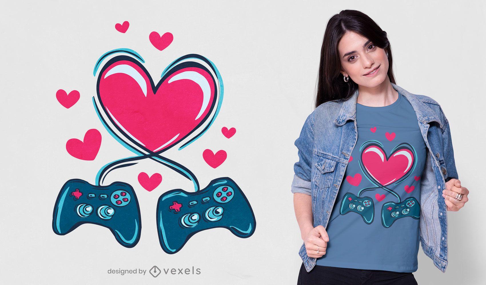 Diseño de camiseta de amor de juegos.