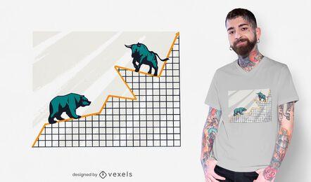 Design gráfico de camisetas do mercado de ações