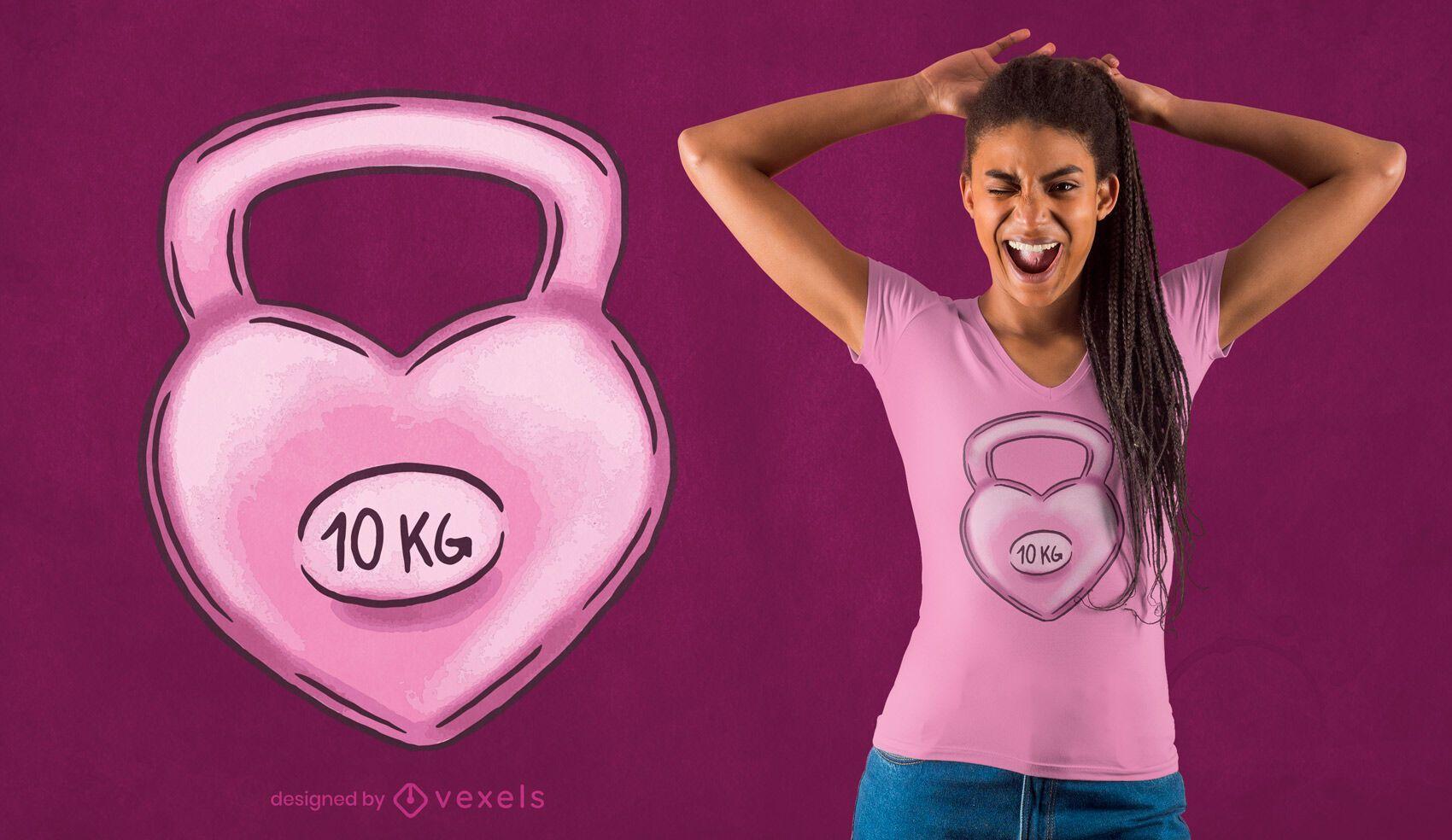 Diseño de camiseta Kettlebell Heart