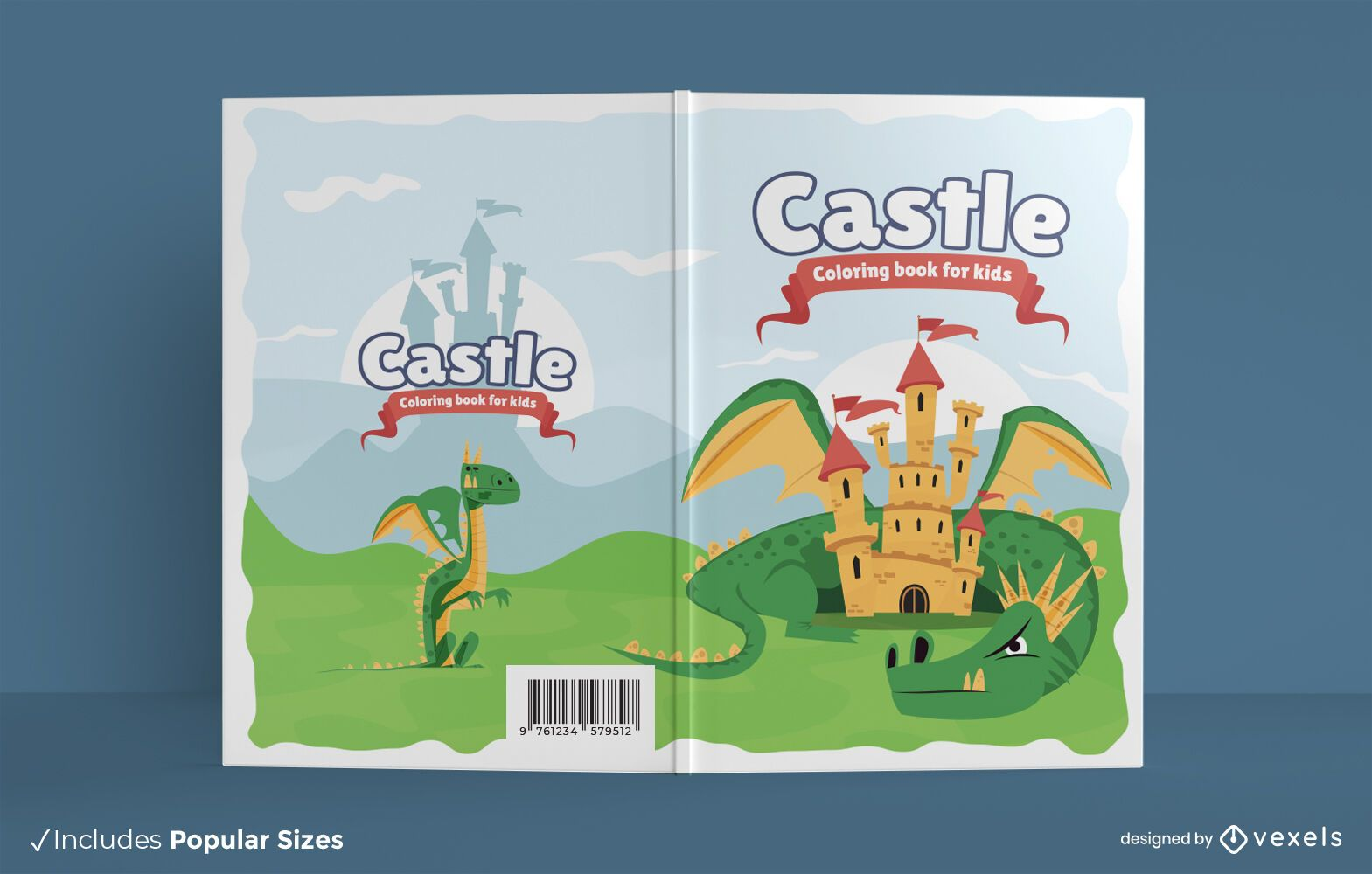 Diseño de portada de libro para colorear de castillo