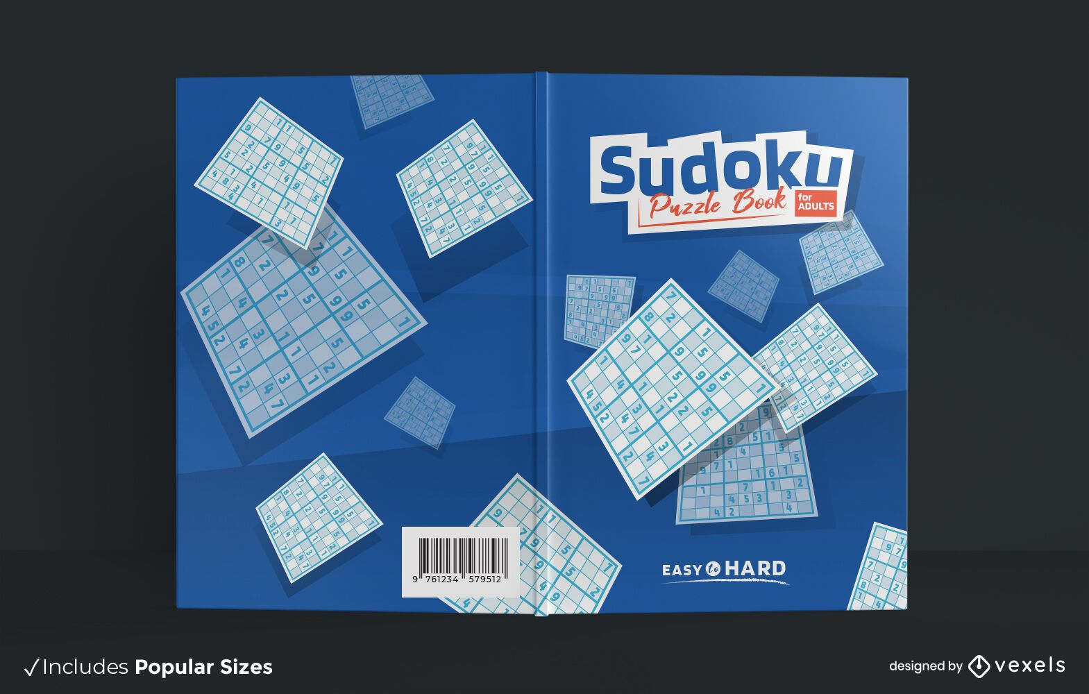 Design de capa de livro adulto quebra-cabeça Sudoku