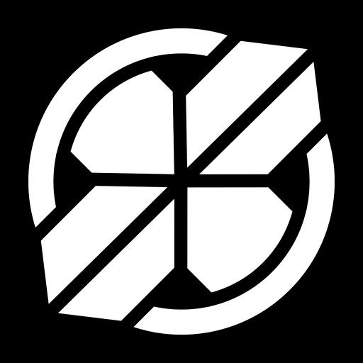 Logotipo de cruz círculo abstracto