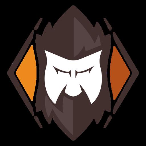 Logotipo de barba de cara enojada