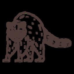 Dibujado a mano mapache enojado