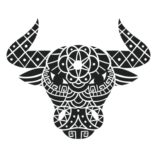 Mandala de cabeza de toro recortada Transparent PNG
