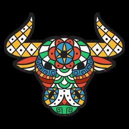 Mandala de cabeza de toro plana