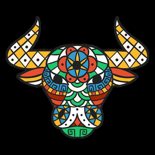 Bull head mandala flat