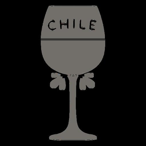 Copa de vino de Chile monocromo