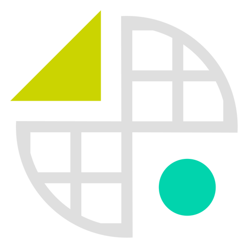 Circled grid shapes logo