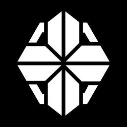 Cruz logo monocromo abstracto