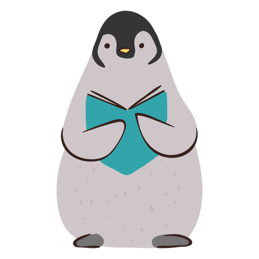 Cute penguin studying character