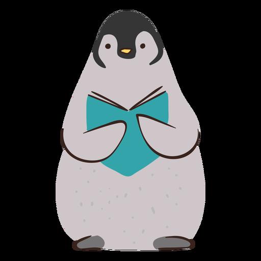 Lindo pingüino estudiando personaje