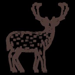 Ciervos mirando hacia atrás dibujados a mano
