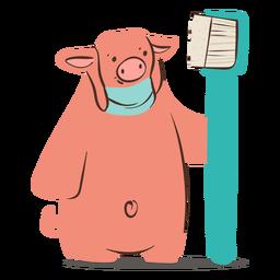 Carácter de cepillo de dientes de cerdo dentista