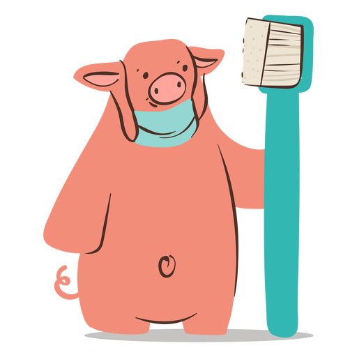 Dentist pig toothbrush character