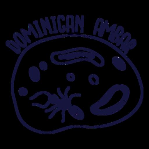 Doodle monocromo de ambar dominicano