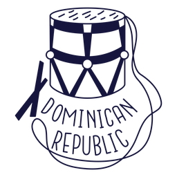 Dominican tambora monochrome doodle