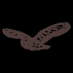 Dibujado a mano búho volando