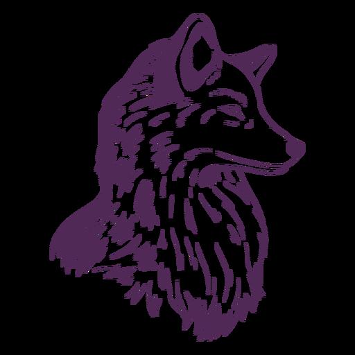 Dibujado a mano cabeza lateral de zorro