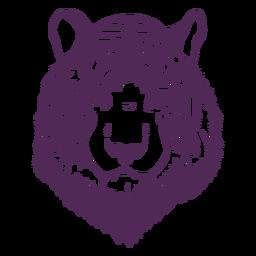 Frontal tiger head hand drawn