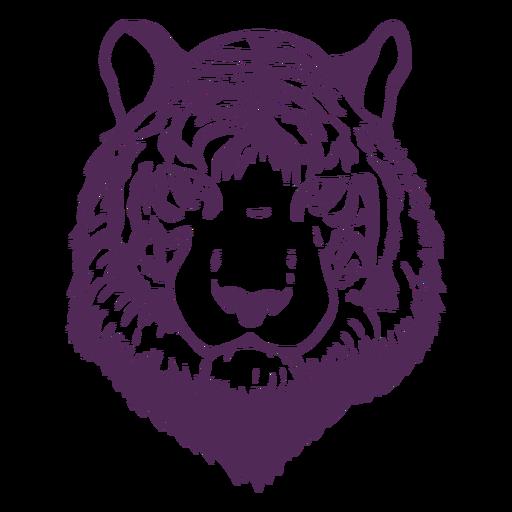 Cabeça de tigre frontal desenhada à mão