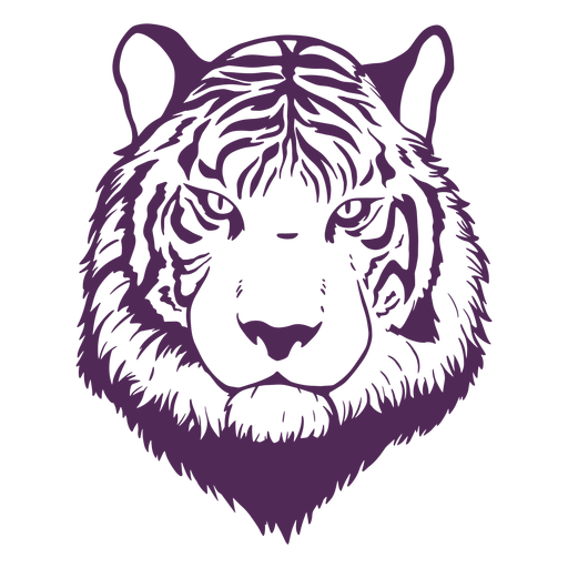 Dibujado a mano cabeza de tigre frontal