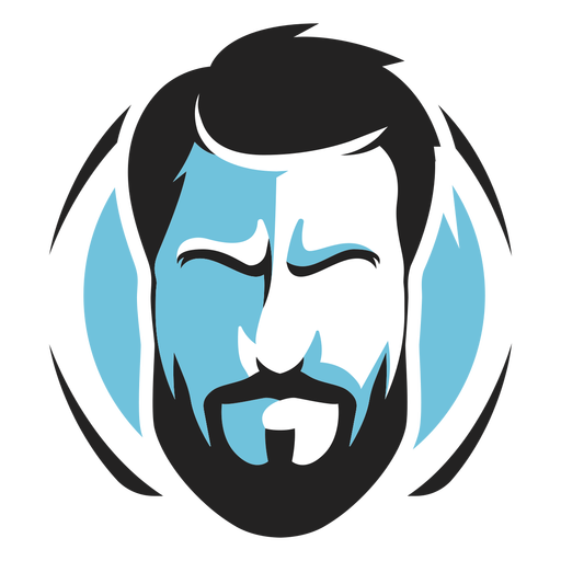 Full beard face logo