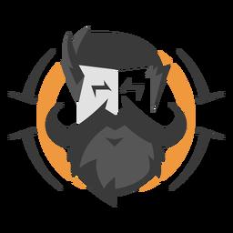 Logotipo de la cara del bigote del manillar