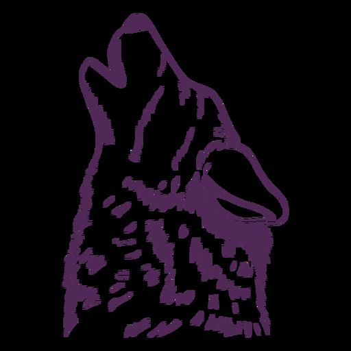 Dibujado a mano lobo aullando