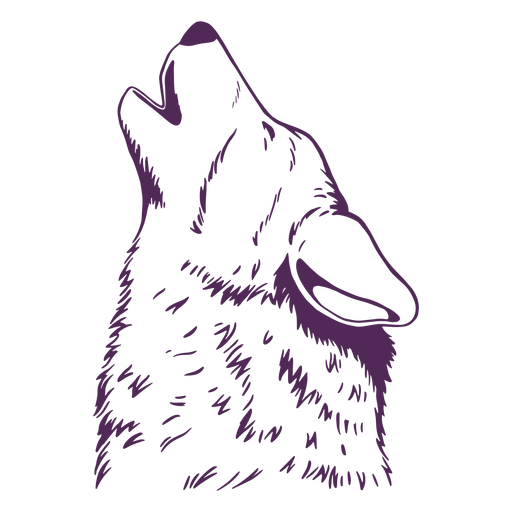 Howling wolf hand drawn