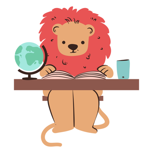 Lion studying character