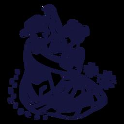 Merengue dominican couple monochrome doodle