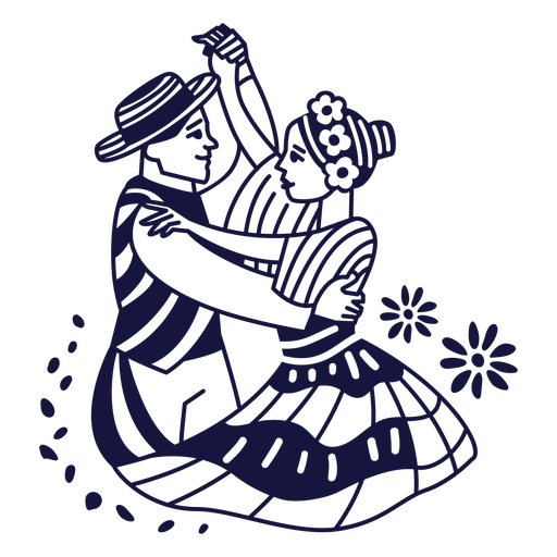 Doodle monocromo de pareja dominicana merengue