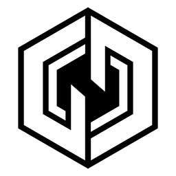 Logotipo hexágono abstrato monocromático
