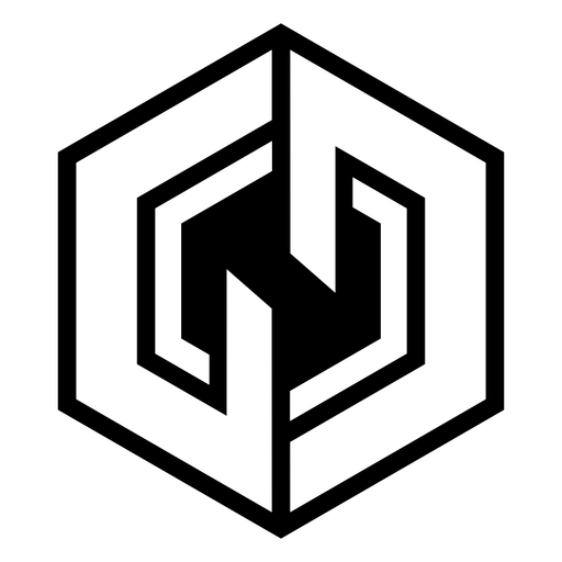 Monochrome abstract hexagon logo Transparent PNG