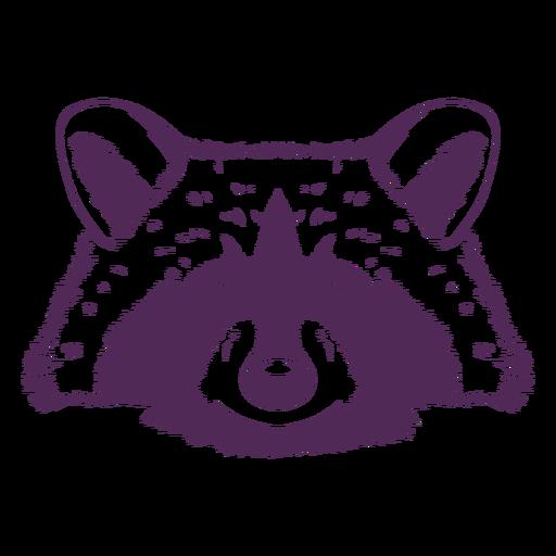 Raccoon head front hand drawn