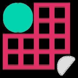 Rectangle grid circles logo