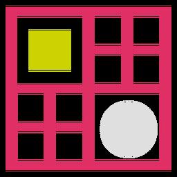 Logotipo de cuadrícula de círculo rectangular