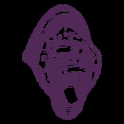 Dibujado a mano cabeza de gorila rugiente