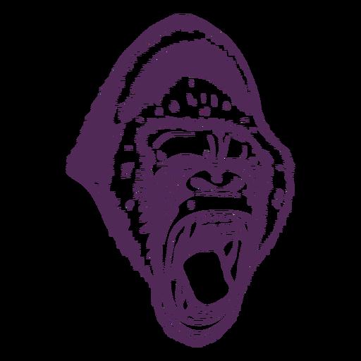 Cabeça de gorila rujir desenhada à mão