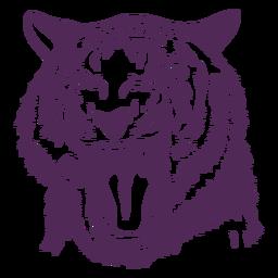 Dibujado a mano cabeza de tigre rugiente
