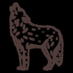 Lobo uivando em pé desenhado à mão