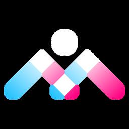 Logotipo gradiente de três cores