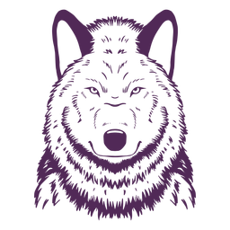 Lobo frente a mão séria desenhada
